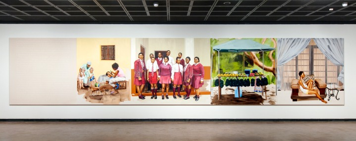 Meleko Mokgosi, Bread, Butter, and Power, Installation View, 2018 Fowler Museum at UCLA. Photo Courtesy the artist and Honor Fraser, Los Angeles. Photo © Monica Nouwens