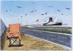 Cole Case, LAX Qantas Hangar and Chair Looking Due North 2017, Pastel on paper, 19×27 inches. Photo Courtesy of the artist.