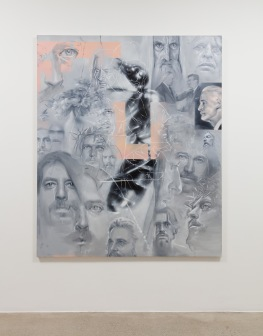 Robert Russell, Guys That People Say Look Like Me, oil and spray enamel on canvas, 72x60 inches, 2018, Anat Ebgi. Photo Courtesy of the Gallery.