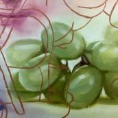 Robert Russell, Michelangelo with Grapes, 2017, detail, Anat Ebgi. Photo Credit: Shana Nys Dambrot.