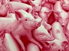 Robert Russell, Pink Figures, 2018, detail, Anat Ebgi. Photo Credit: Shana Nys Dambrot.