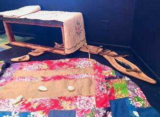Sculpture by David Bell, Carole Bell, Mary Lukasik, carpet by iris yirei hu at WCCW. Photo Credit: Lara Salmon.