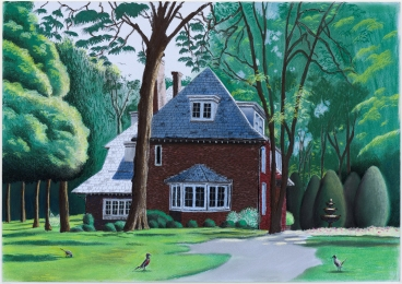 Cole Case, Kurt Vonnegut Home, Indianapolis 5.29.17, Pastel on paper, 19×27 inches. Photo Courtesy of the artist.