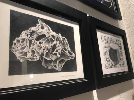 Britney Penouilh, SEM | Volcanic Ash & SEM | Moon Rock, graphite on paper, 2008. Photo courtesy of the artist.