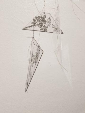 Britney Penouilh, Masks of Eternity & Mourning Drift polymer gypsum, etched Plexiglas, thread, 2017. Photo courtesy of the artist.