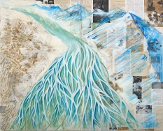 Britney Penouilh, The Trembling of Earth | Glacial Silt, mixed media on panel, 2018. Photo courtesy of the artist.