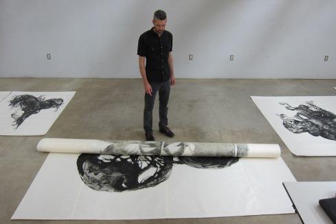 Tim Musso, Studio Visit. Photo Credit: Gary Brewer.