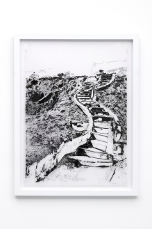 Francesca Gabbiani, The Unresolved Story (drawing), 2016-2017 Ink on Mylar at Gavlak Gallery. Photo courtesy of the gallery.