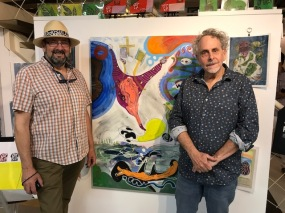 Francisco Alvarado and Robert Soffian at Shoebox Projects, reception. Photo credit: Genie Davis.