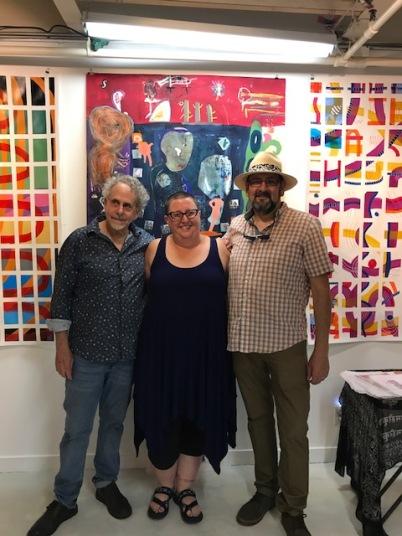 Francisco Alvarado and Robert Soffian at Shoebox Projects with Kristine Schomaker, reception. Photo credit: Genie Davis.
