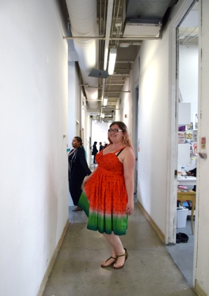 Samantha Fitzmorris at CGU Open Studios. Photo credit: Kristine Schomaker.