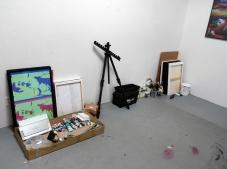 Wenbo Fang at CGU Open Studios. Photo credit: Kristine Schomaker.