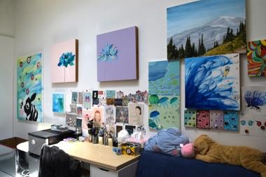 Xinjie Yin at CGU Open Studios. Photo Credit: Kristine Schomaker.