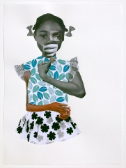 Deborah Roberts, Filling in the gaps, 2018, Mixed media on paper, at Luis De Jesus. Photo credit: Shana Nys Dambrot.