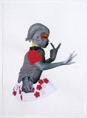 Deborah Roberts, Girl in charge, 2018, Mixed media on paper, at Luis De Jesus. Photo credit: Shana Nys Dambrot.