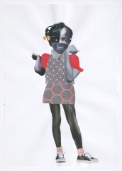 Deborah Roberts, Golden Smile, 2018, Mixed media on paper, at Luis De Jesus. Photo credit: Shana Nys Dambrot.