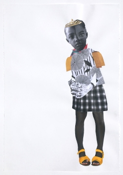 Deborah Roberts, Here before, here after, 2018, Mixed media on paper, at Luis De Jesus. Photo credit: Shana Nys Dambrot.