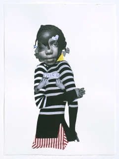 Deborah Roberts, Political Lamb #3, 2018, Mixed media on paper, at Luis De Jesus. Photo credit: Shana Nys Dambrot.