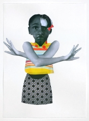Deborah Roberts, Small Waves, 2018, Mixed media on paper, at Luis De Jesus. Photo credit: Shana Nys Dambrot.