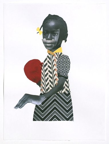 Deborah Roberts, The Step Back, 2018, Mixed media on paper, at Luis De Jesus. Photo credit: Shana Nys Dambrot.