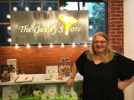 Debby Kline at The Candy Store by Debby and Larry Kline at Shoebox Projects. Photo credit: Genie Davis.