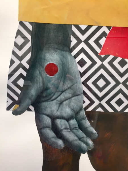 Deborah Roberts, Human nature, 2018, Mixed media on paper, at Luis De Jesus. Photo credit: Shana Nys Dambrot.