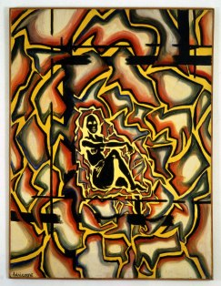 Adrian Piper. LSD Self-Portrait from the Inside Out. 1966. Acrylic on canvas, 40 x 30 in. (101.6 x 76.2 cm). Emi Fontana Collection. © Adrian Piper Research Archive Foundation Berlin. Photography by Boris Kirpotin