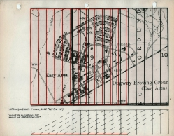 Adrian Piper. Parallel Grid Proposal for Dugway Proving Grounds Headquarters. 1968. Two typescript pages; ink and colored ink on fourteen sheets of paper; architectural tape on acetate over ink on thirteen photostats; and ink on cut-and-pasted map, mounted on colored paper. Detail: Parallel Grid Proposal for Dugway Proving Grounds Headquarters #11, 8 ½ × 11 in. (21.6 × 27.9 cm). Collection Beth Rudin DeWoody. © Adrian Piper Research Archive Foundation Berlin