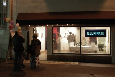 Illuminate Basement lights, Opening, Surrogate Gallery Projects. Photo Courtesy Holly Boruck.