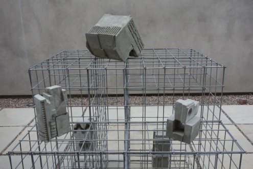 Aili Schmeltz, 2018, Cast Print X, concrete steel at JAUS Gallery. Photo courtesy of the gallery.