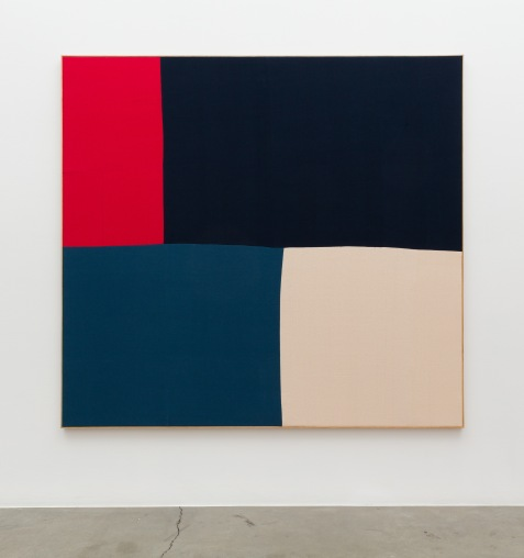 Ethan Cook, Untitled, 2018, Hand woven cotton canvas in artist's frame, at Anat Ebgi. Photo courtesy of the gallery.