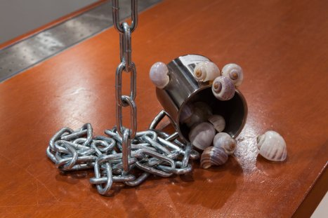 Patrick Staff Common cup (for Michael's), 2018, stainless steel cup, zinc-plated chain, spring link, welded ring, snail shells, Dimensions variable. Photo courtesy of the gallery.