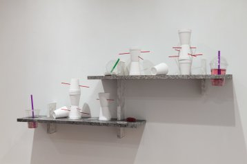 Lea Cetera Sycophant's Lament, 2018 Formica, plywood, porcelain, acrylic, resin, plastic, glass, 53 x 8.125 x 26 inches overall. Photo courtesy of the gallery.