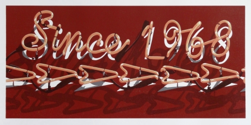 """""""Since 1968"""", reduction linocut in 7 colors, 15"""" x 32"""", 2018. Photo courtesy Dave Lefner"""