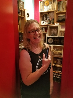 Genie Davis in Kate Carvellas, Reliquary for an Assemblage Artist at The Closet in Shoebox Projects. Photo credit: Kristine Schomaker.