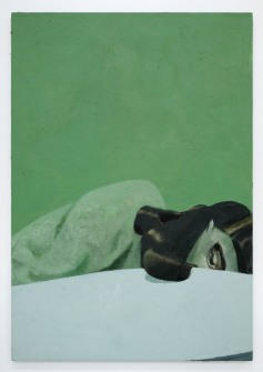 Lenz Geerk Table Portrait I, 2017 Acrylic on wool 57.1 x 39.38 in (145 x 100 cm) Courtesy of the artist and Roberts Projects, Los Angeles, California