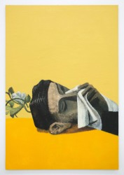 Lenz Geerk Table Portrait IV, 2018 Acrylic on wool 57.1 x 39.38 in (145 x 100 cm) Courtesy of the artist and Roberts Projects, Los Angeles, California
