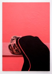 Lenz Geerk Table Portrait V, 2018 Acrylic on wool 57.1 x 39.38 in (145 x 100 cm) Courtesy of the artist and Roberts Projects, Los Angeles, California