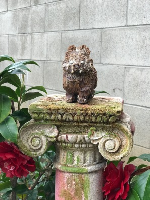 Bear with Hairdo in garden, by Sierra Pecheur. Photo courtesy of the artist.