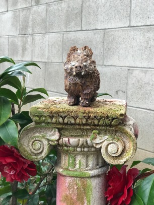 Bear with Hairdo in garden, by Sierra Pecheur. Photo courtesy of the artist.
