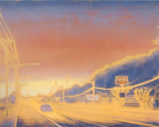 Gay Summer Rick's Skyways and Highways, Wish You Were Here, 48x60in, final 1000 at BG Gallery. Photo courtesy of the artist.