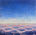 Gay Summer Rick's Skyways and Highways, On The Grid - Blue I, Oil on Canvas, 6x6in at BG Gallery. Photo courtesy of the artist.