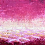 Gay Summer Rick's Skyways and Highways, On The Grid - red I, Oil on Canvas, 6x6in at BG Gallery. Photo courtesy of the artist.