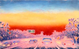 Gay Summer Rick's Skyways and Highways, To The One, Oil on Canvas, 30x48in, print at BG Gallery. Photo courtesy of the artist.
