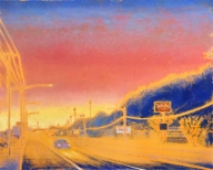 Gay Summer Rick's Skyways and Highways, Wish You Were Here, Oil on Canvas, 48x60in at BG Gallery. Photo courtesy of the artist.