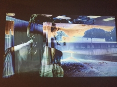 Pat O'Neill, Film Still in The Decay of Fiction at Philip Martin Gallery Photo credit: Lorraine Heitzman.