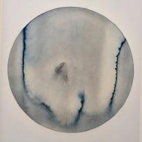 Olafur Eliasson, The melting globe (grey bluish, ochre) 2018, watercolor and pencil on paper at Tanya Bonakdar Gallery. Photo credit: Shana Nys Dambrot
