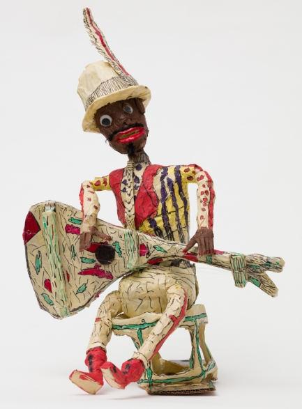 Willard Hill, Untitled (Man with Mustache and Instrument), 2016-2018, mixed media-masking tape. Photo courtesy of the gallery.