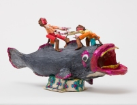 Willard Hill, Untitled (Two Figures Riding Catfish), 2016-2018, mixed media-masking tape. Photo courtesy of the gallery.