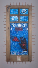 Memory Window for Anastacia. Betye Saar.Something Blue at Roberts Projects. Photo courtesy of the artist and Roberts Projects